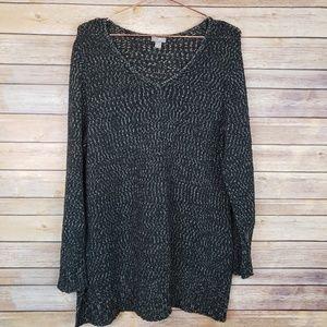 J. Jill Black/White V Neck Sweater Sz XL
